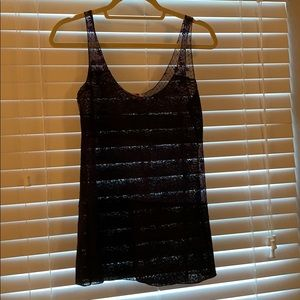 Blue and black lace tank top